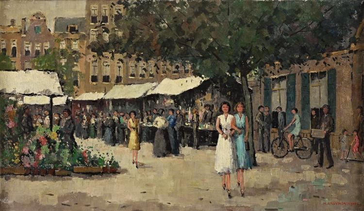 Ladies at the market signed oil painting by nico bruynestey for Nico s fish market