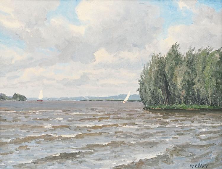 River landscape with boats by Henk Dekker