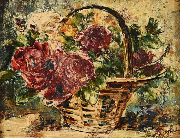 A flower basket painted by Theo Goedvriend