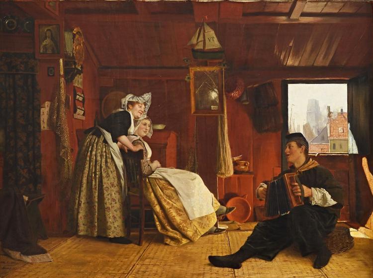 Cheerful interior scene by Otto Kirberg