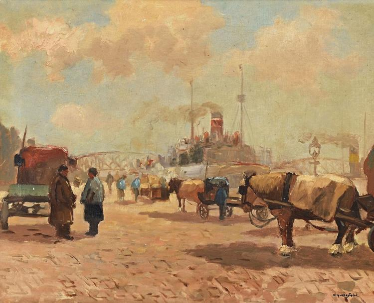 Nice and bright Rotterdam harbour scene by Aris Knikker