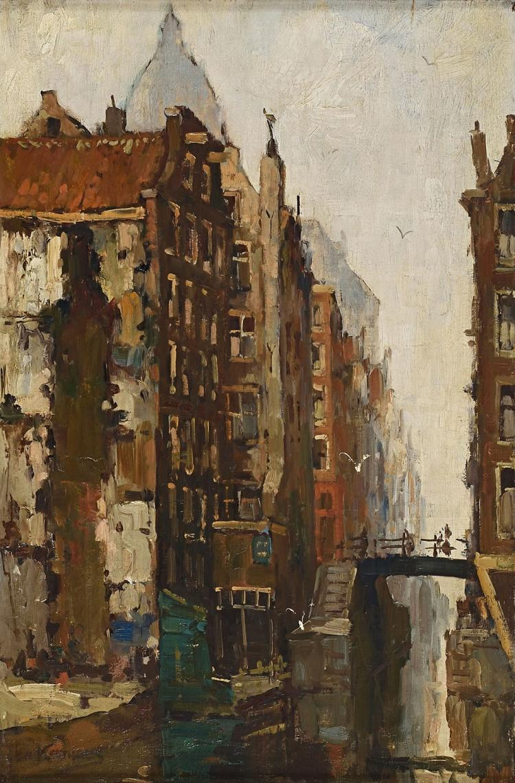 Very strong canal view by the last Dutch impressionist, Jan Korthals
