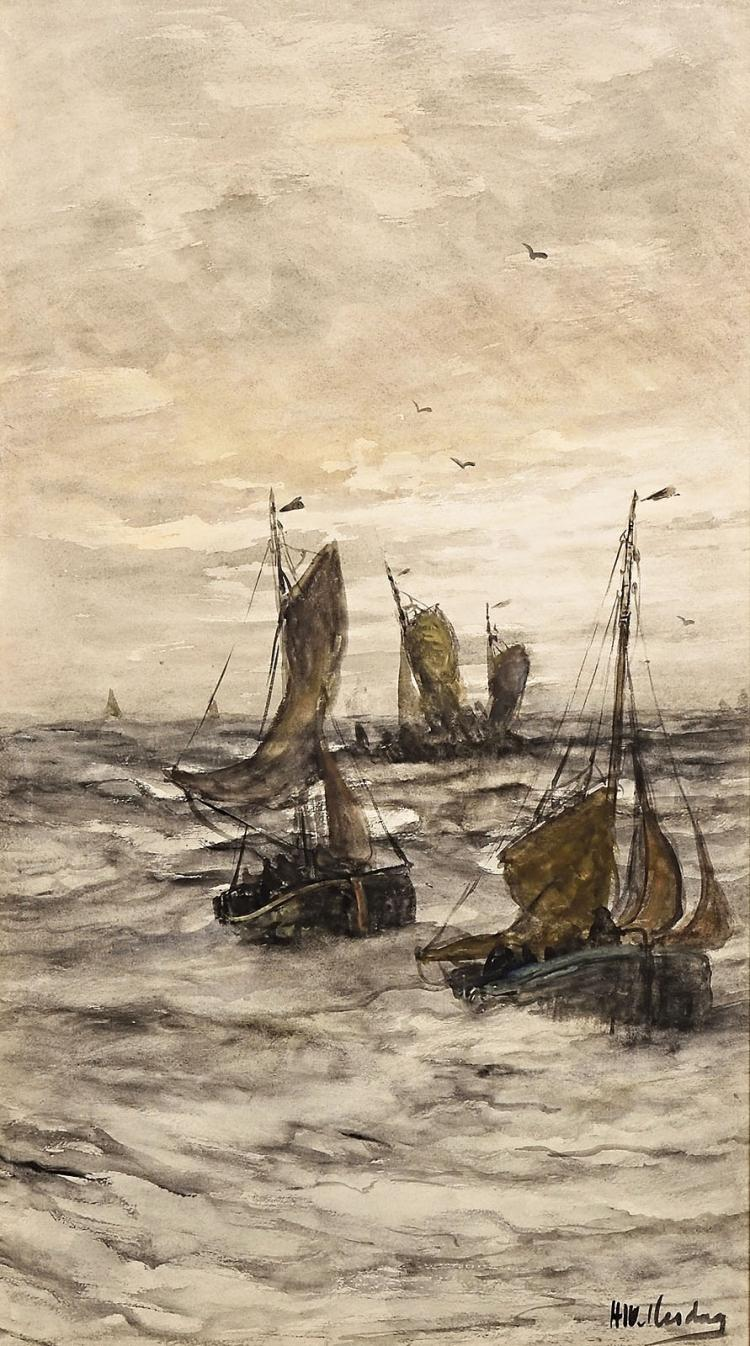Mesdag at his peak, a very large signed watercolour