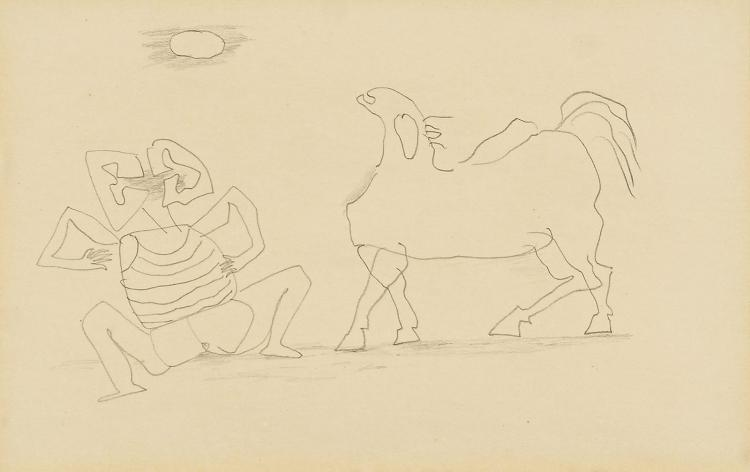 Horse and squatting man, pencil drawing by Pieter Ouborg