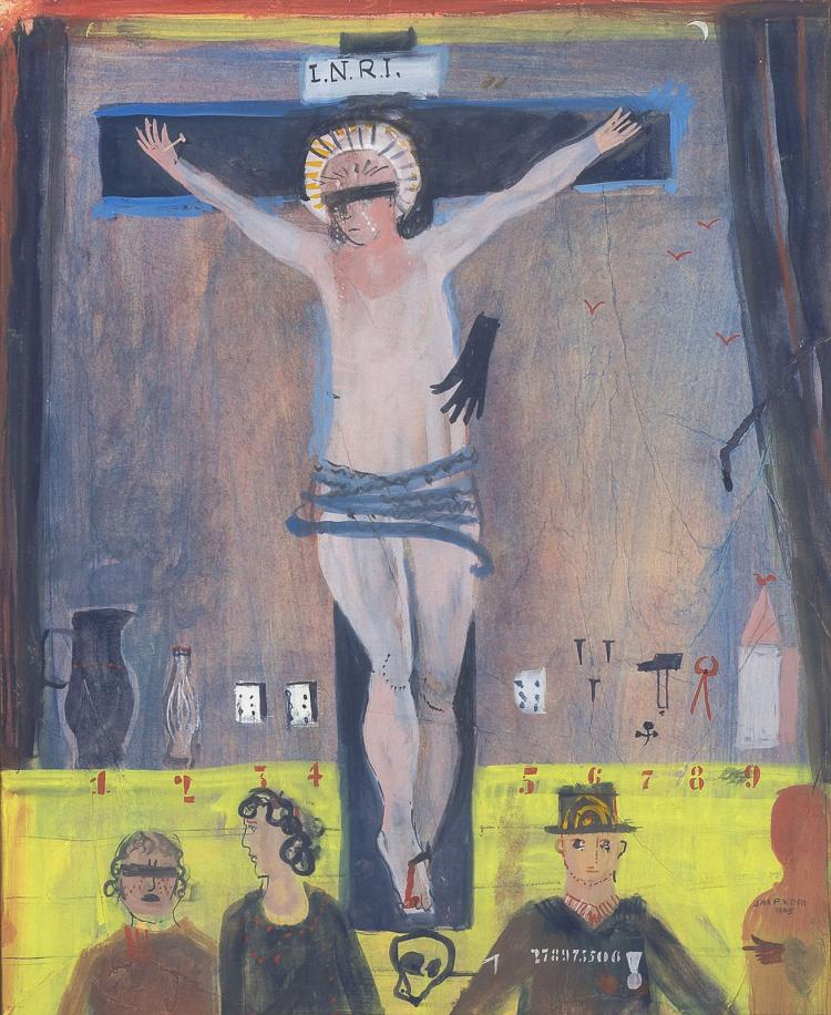 Watercolour crucifix by Jaap van der Pol