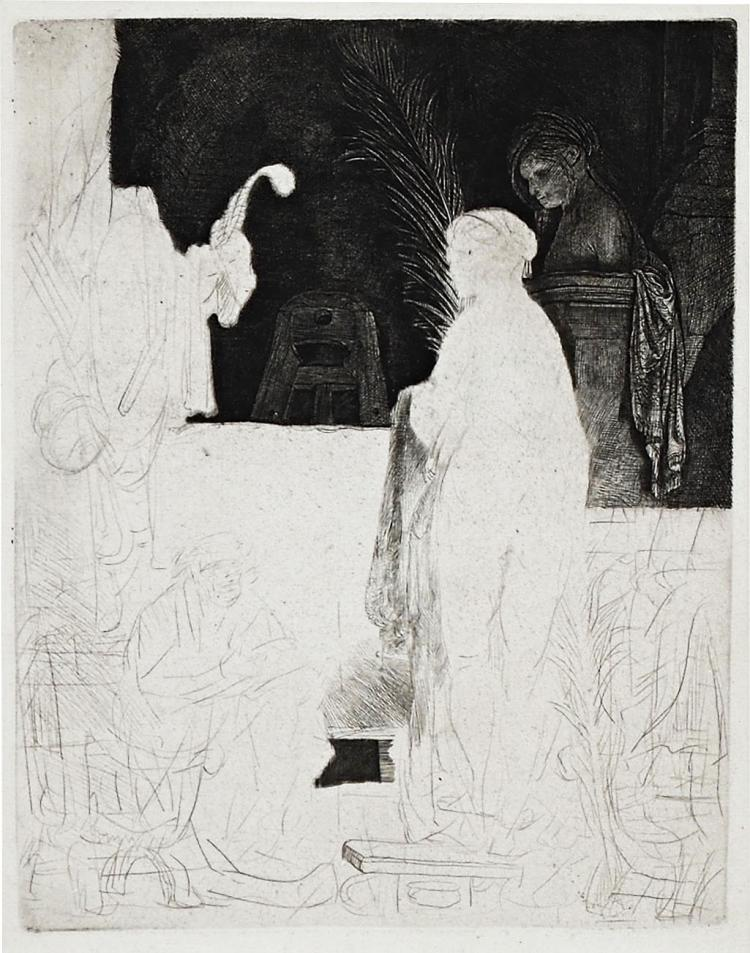 Very fine original etching by Rembrandt