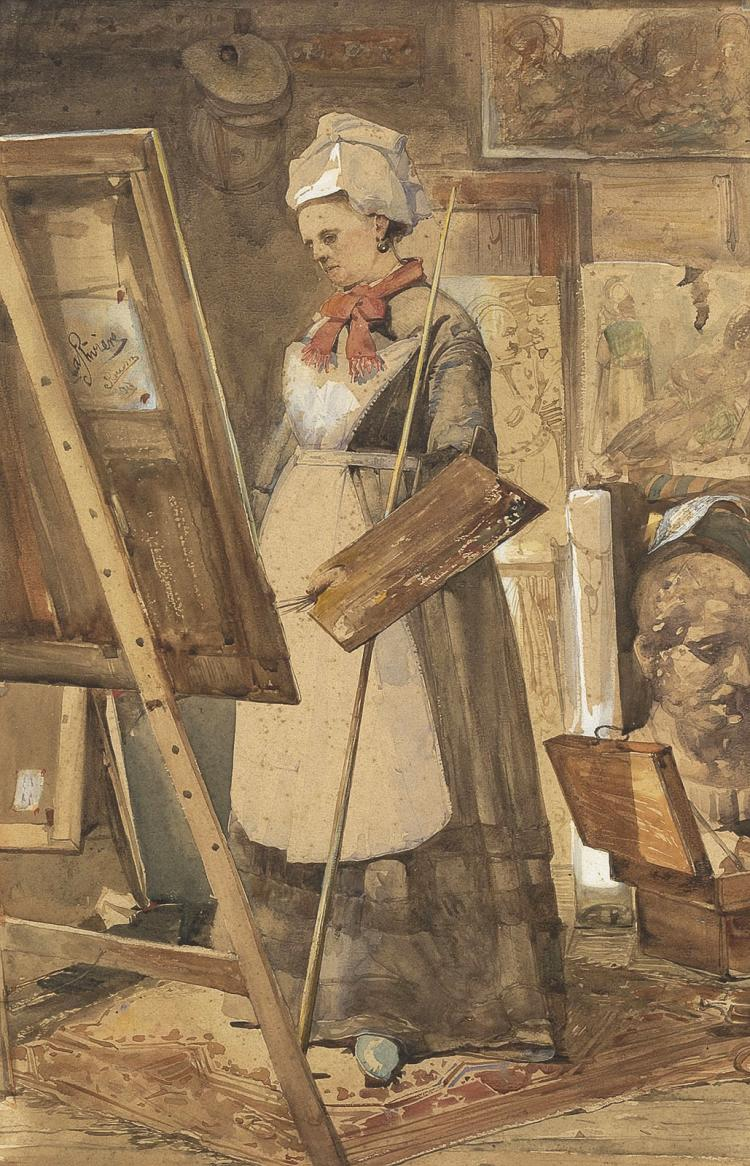 A painter in her studio, by Adriaan de la Rivière