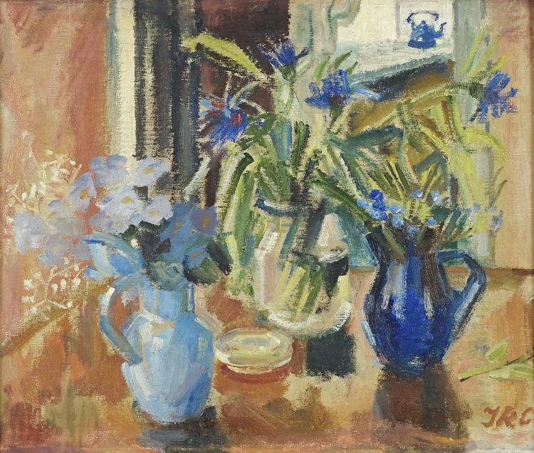 Blue jugs with flowers by Jopie Roosenburg-Goudriaan