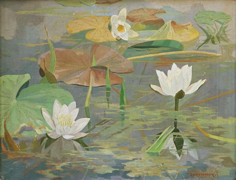 Water lilies by Dirk Smorenberg, nicely framed by the artist