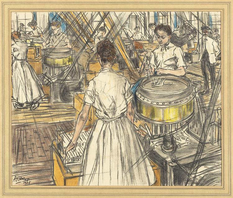 At the candle factory, lithograph in colours by Jan Toorop