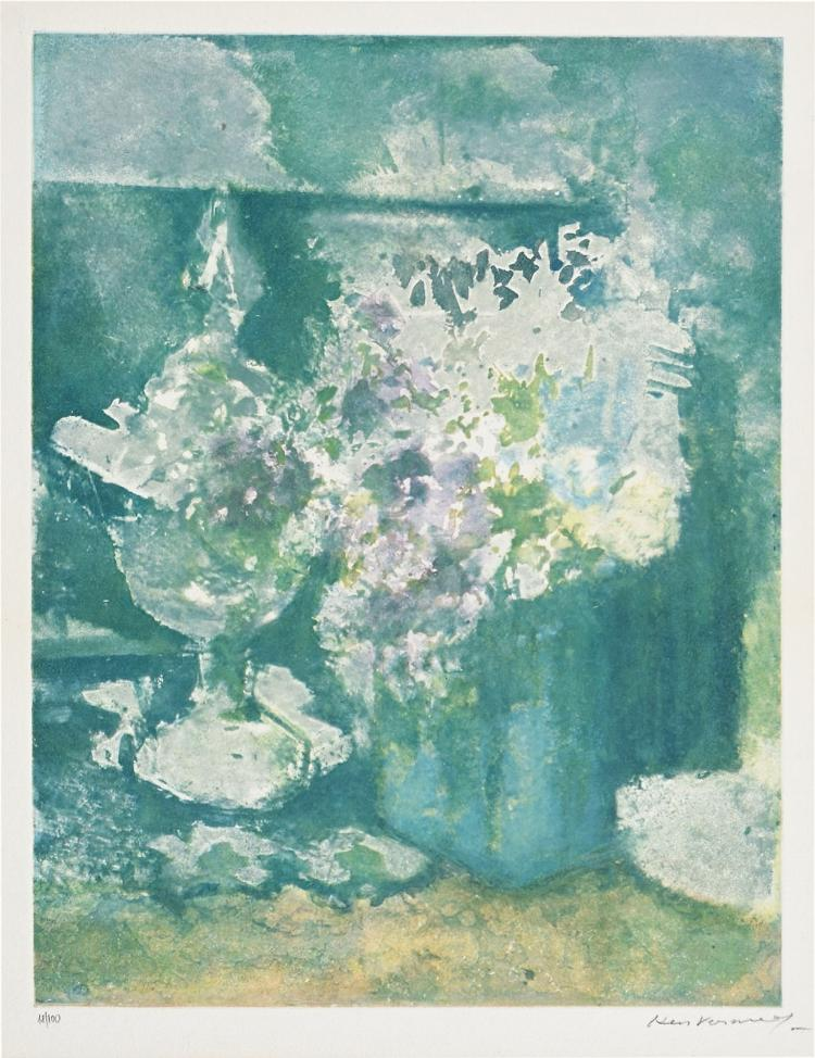 Still life with flowers, large signed aquatint by Kees Verwey