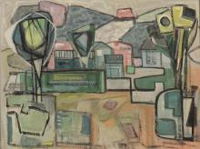 Cubist landscape in pastel colours