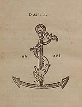 [Aldine Imprint]  Dante Alighieri.  Dante Col Sito, Et Forma Dell' Inferno Tratta Dalla Descrittione del Poeta