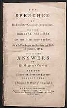 [American Revolution]  The Speeches of His Excellency Governor Hutchinson, to the General Assembly of the Massachusetts-Bay