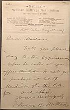 Anthony, Susan B.  Signed manuscript letter.