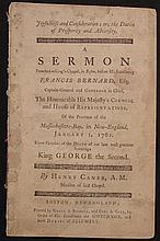 [King George II]  Caner, Henry.  Joyfulness and Consideration...A Sermon Preached ... before his excellency Francis Bernard...1761...Upon the Occasion of the Death of...King George the Second.