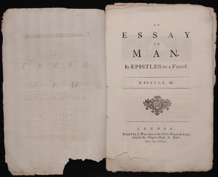an essay on man 1733 Alexander pope, essay on man alexander pope: essay on man (1733-744) though it was written during the enlightenment, alexander pope's attempt to address the imperfect state of the world is in its essence not an enlightenment work.
