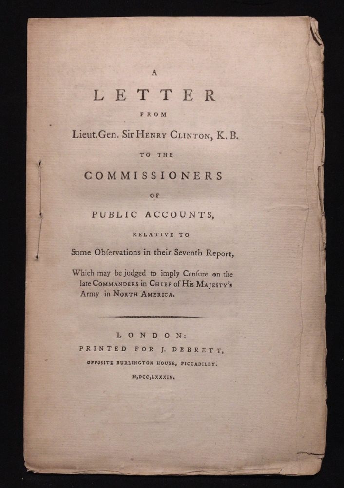 [American Revolution] Henry Clinton's Letter ...