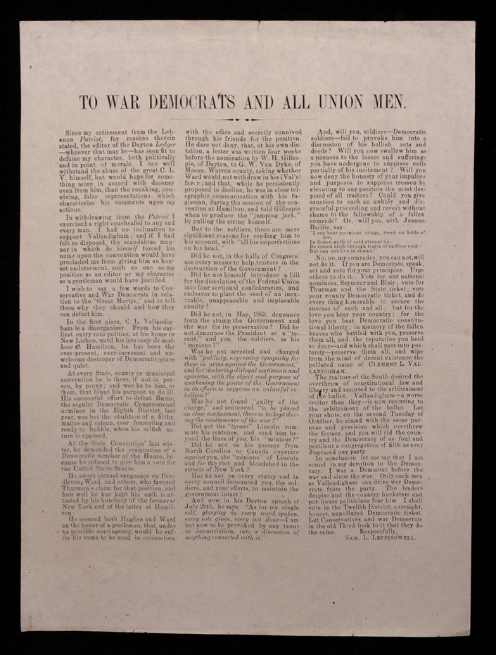[Broadside, American Civil War & Politics]