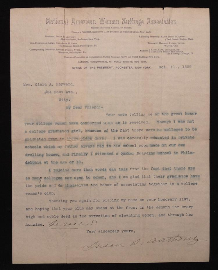 Susan B. Anthony, Typed Letter Signed