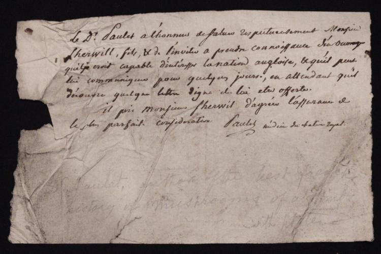 [Manuscript Letter from Jean-Jacques Paulet]