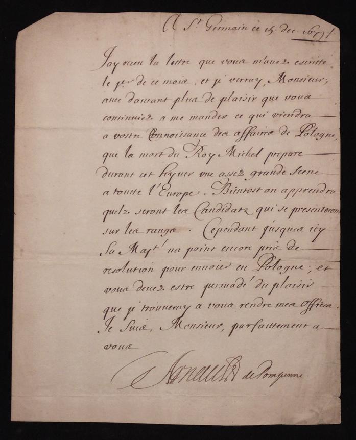 [Manuscript] Simon Arnauld, Marquis de Pomponne