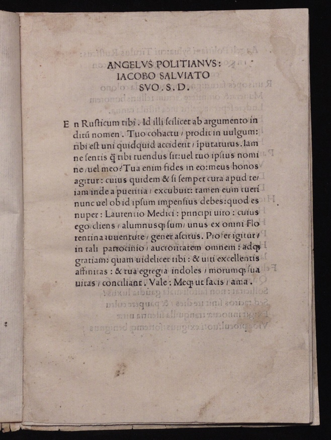 [Incunabula]  Angelus Politianus.  Silva cui Titulus …