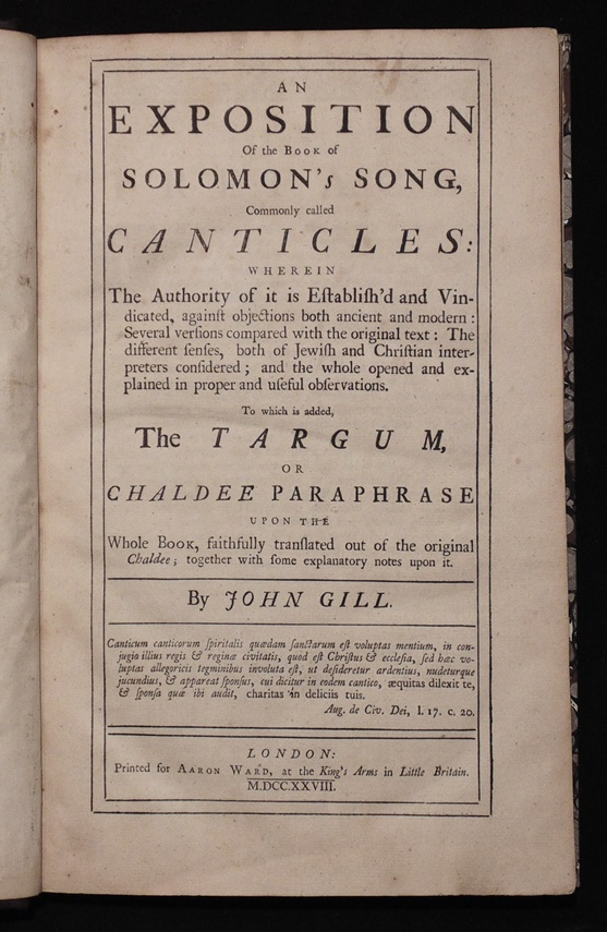Gill's Exposition of Solomon's Song, 1728
