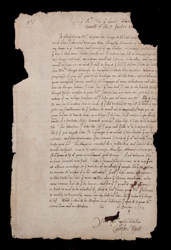 Manuscript George Wyatt Epistle, 1593