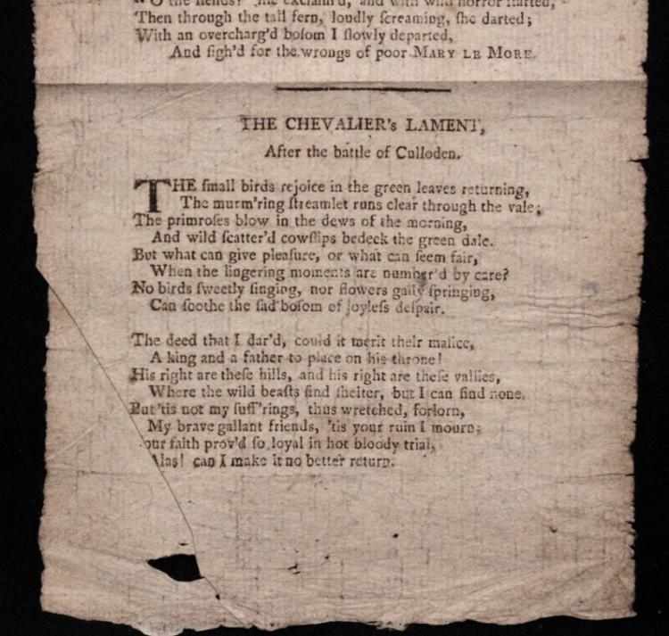Robert Burns. Chevalier's Lament [Broadside]