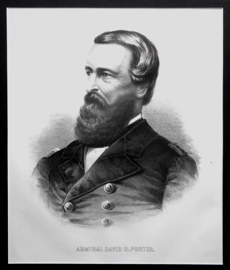 Civil War, Navy Litho on Union Furniture Macon Ga