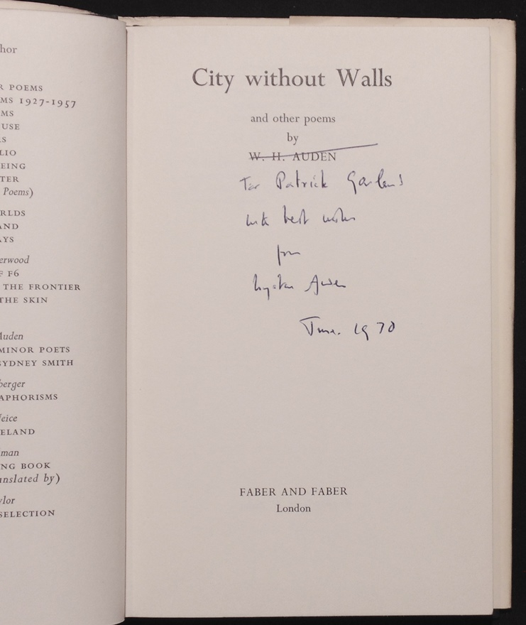 Auden w h city without walls signed - The house without walls ...