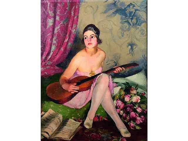 * GABORIAUD Josué (1883-1955). Femme à la guitare