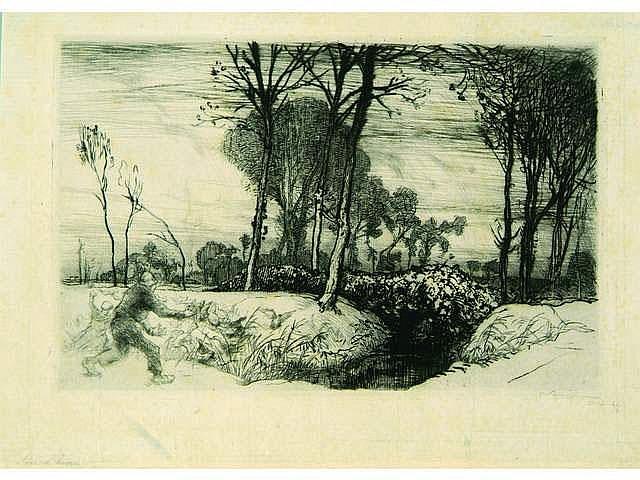 Auguste Lepère. Soir d'hiver (Vendée). 1914.