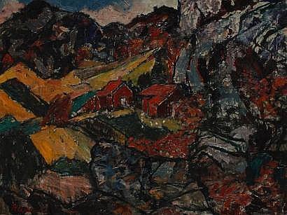 Erik HAAMER (1908-1994) Village de montagne Huile