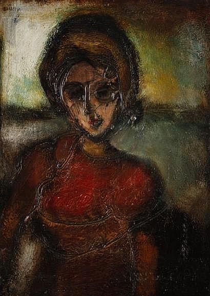Sioma BARAM (né en 1919) Portrait de jeune fille,