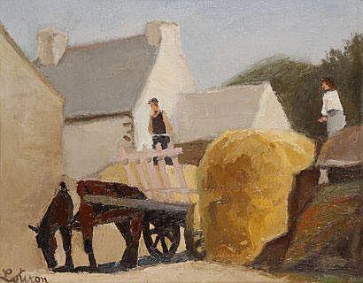 Robert LOTIRON (1886-1966) La charrette de