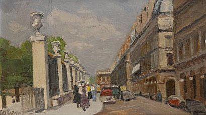 Robert LOTIRON (1886-1966) Rue de Rivoli.Huile sur