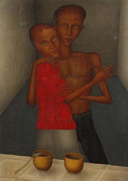 Pierre HENRY (Né en 1924) Couple.Huile sur