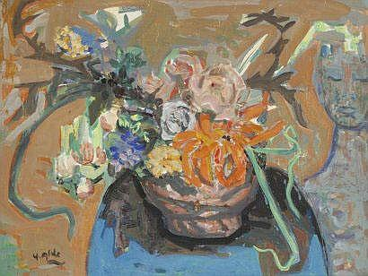 Yvette ALDE (1911-1967) Bouquet de fleurs.Gouache
