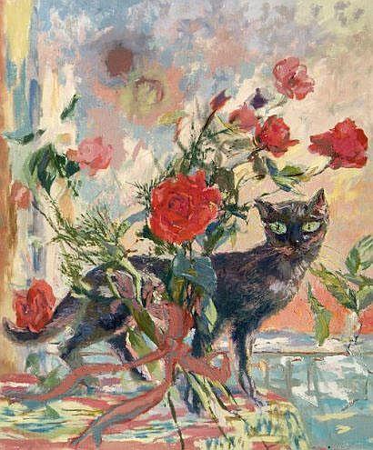 Eliane DIVERLY (née en 1914). Le chat aux roses.