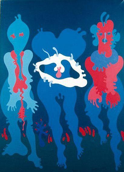 Jan DOBKOWSKI (né en 1942) Trois tristes Acrylique