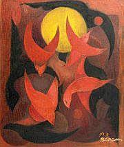 Sioma BARAM (né en 1919) Les oiseaux Huile sur