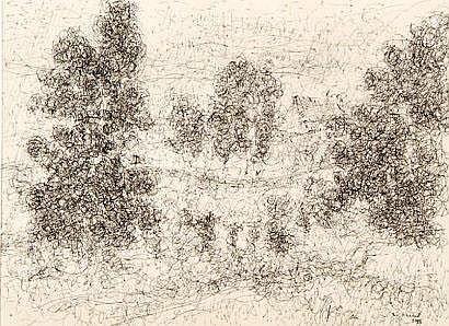 Louis FERRAND (1902-1983) Paysage. Dessin à la