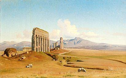 Achille BENOUVILLE (1815-1891) Rome, l'acqueduc de