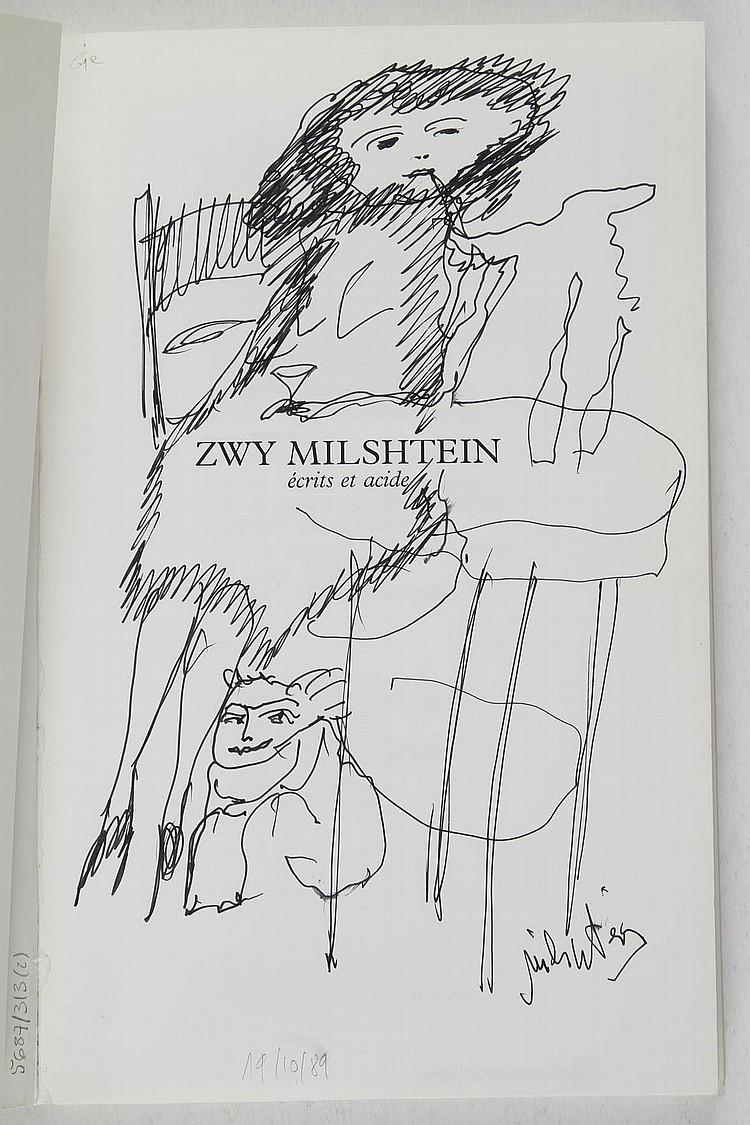 MILSHTEIN Zwy. Caroline BENZARIA :{CR}Zwy Milshtein, écrits et acide. Paris, Marval, 1988. In-8, br. Exemplaire enrichi d'un dessin original signé en page de titre.{CR}Joint :{CR}- Milshtein, graveur. Le musée de poche. Paris, 1974. Pt in-8, br.