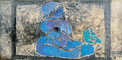 Arun BOSE (indien né en 1934) Femme à l'oiseau,