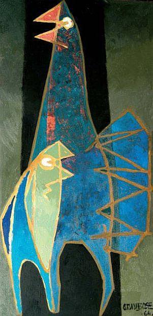 Arun BOSE (indien né en 1934) Coqs, 1964 Huile sur