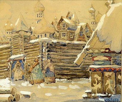Boris KRYLOFF (1891-1977). Isba. Aquarelle sur