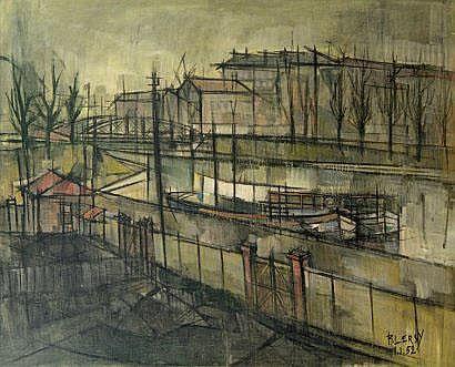 Roger LERSY (né en 1920) Bateau sur le canal, 1952